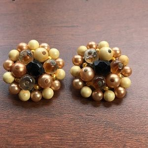 Vintage TARA Clip On Earrings Brown Copper Cream